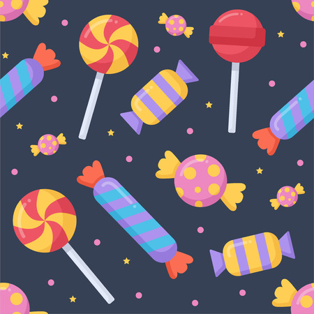Cute candy and lolipop seamless pattern on a dark background. Vector illustration. Stock Photo