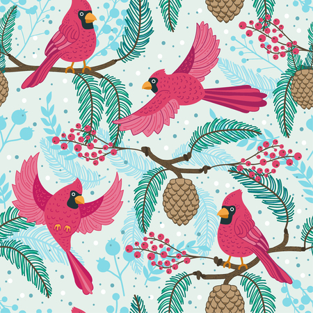Whimsical repeating pattern. Christmas and winter theme. Red Cardinal birds, pinecones, berries and branches. Perfect for textile, wrapping, print, web and all kinds of decorative projects. Stock Photo