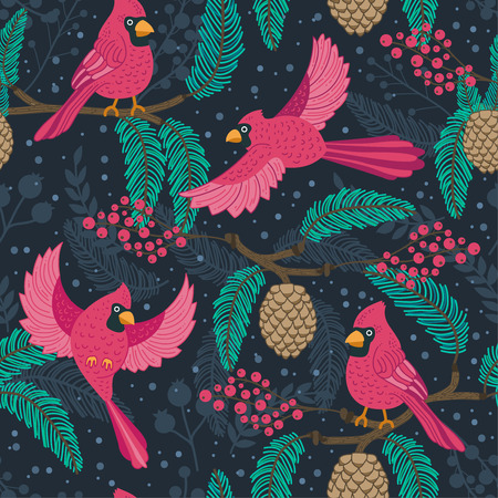 Whimsical repeating pattern. Christmas and winter theme. Red Cardinal birds, pinecones, berries and branches. Perfect for textile, wrapping, print, web and all kinds of decorative projects. 스톡 콘텐츠