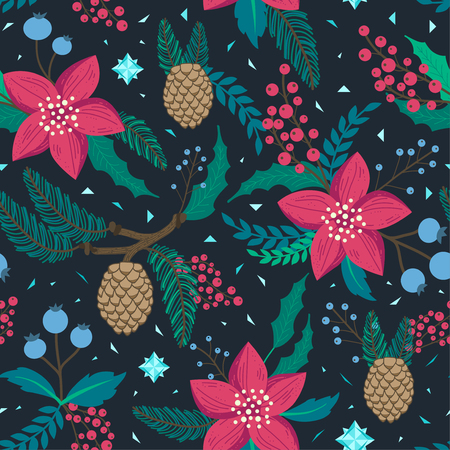 Whimsical repeating pattern. Christmas and winter theme. Red flowers, pinecones, berries and branches. Hand drawn style. Perfect for textile, wrapping, print, web and all kinds of decorative projects.