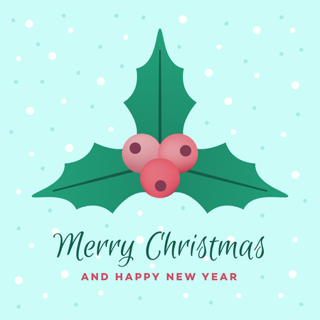 Merry Christmas and Happy New Year. Holly plant, vector illustration