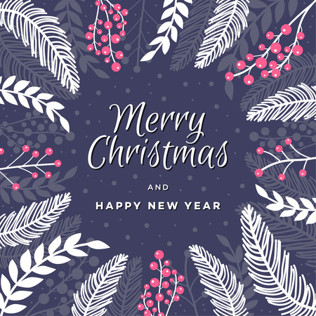 Merry Christmas and Happy New Year. Beautiful holiday theamed banner with winter plants and berries. Vector illustration.