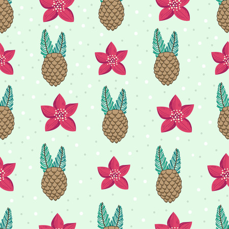 Beautiful repeating pattern. Christmas and winter theme. Pine cones and red flowers. Hand drawn style. Perfect for textile, wrapping, print, web and all kinds of decorative projects.