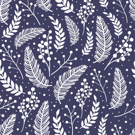 Whimsical repeating pattern. Christmas and winter theme. Plants, berries and leaves. Hand drawn style. Perfect for textile, wrapping, print, web and all kinds of decorative projects.