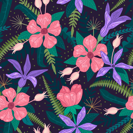 Whimsical repeating pattern. Floral composition. Hand drawn style. Perfect for textile, wrapping, print, web and all kinds of decorative projects. Vector illustration.