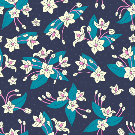 Beautiful repeating pattern. Floral composition. Flowers and leaves. Hand drawn style. Perfect for textile, wrapping, print, web and all kinds of decorative projects. Vector illustration.