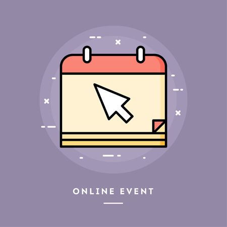 Online event, flat design thin line banner, usage for e-mail newsletters, web banners, headers, blog posts, print and more. Vector illustration. Ilustrace
