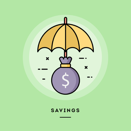 Savings, money bag under an umbrella, flat design thin line banner, usage for e-mail newsletters, web banners, headers, blog posts, print and more. Vector illustration. Ilustrace