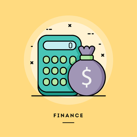 Finance, calculator and a bag of money, flat design thin line banner, usage for e-mail newsletters, web banners, headers, blog posts, print and more. Vector illustration.