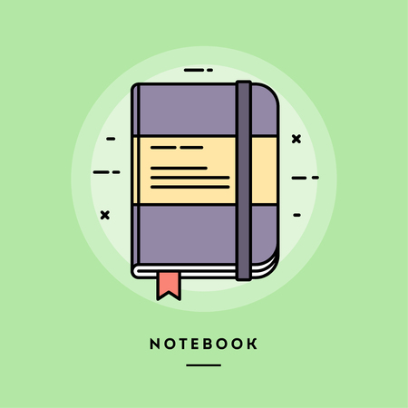 Notebook, flat design thin line banner, usage for e-mail newsletters, web banners, headers, blog posts, print and more. Vector illustration.