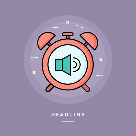 Deadline, alarm clock, flat design thin line banner, usage for e-mail newsletters, web banners, headers, blog posts, print and more. Vector illustration. Ilustrace