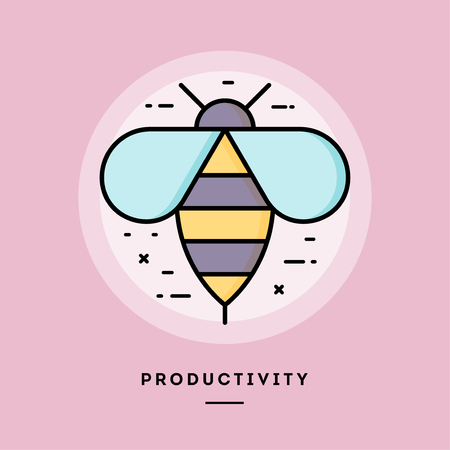 Productivity bee, flat design thin line banner, usage for e-mail newsletters, web banners, headers, blog posts, print and more. Vector illustration.