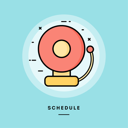 Schedule, school bell, flat design thin line banner, usage for e-mail newsletters, web banners, headers, blog posts, print and more. Vector illustration.