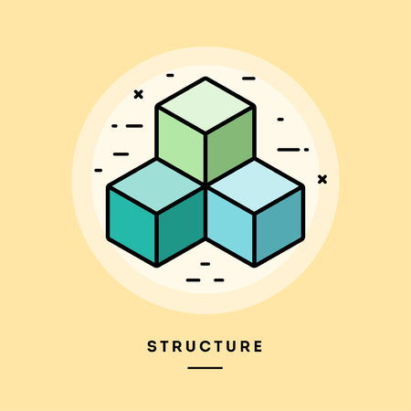 Structure, flat design thin line banner, usage for e-mail newsletters, web banners, headers, blog posts, print and more. Vector illustration. Stock Photo