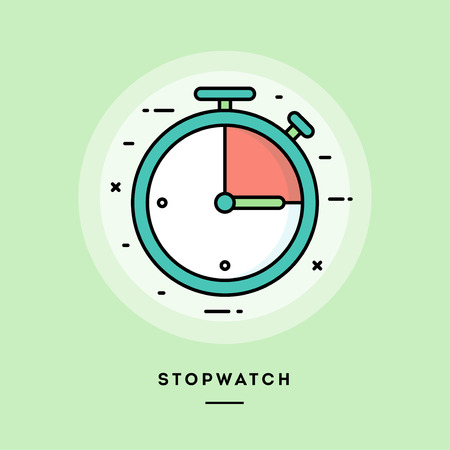 Stopwatch, flat design thin line banner, usage for e-mail newsletters, web banners, headers, blog posts, print and more. Vector illustration. Ilustrace