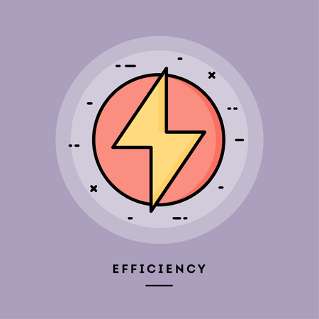 Efficiency, flat design thin line banner, usage for e-mail newsletters, web banners, headers, blog posts, print and more. Vector illustration. Stock Photo