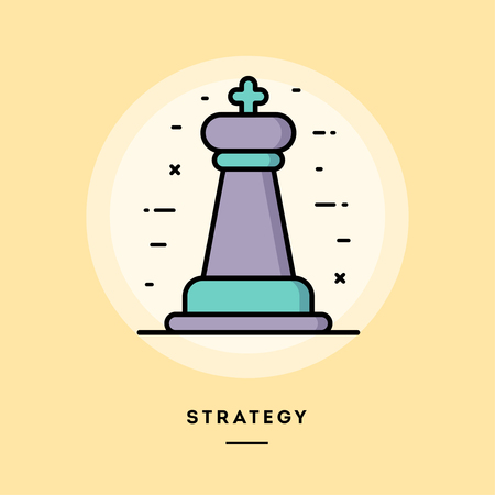 Startegy, chess figure, flat design thin line banner, usage for e-mail newsletters, web banners, headers, blog posts, print and more. Vector illustration.