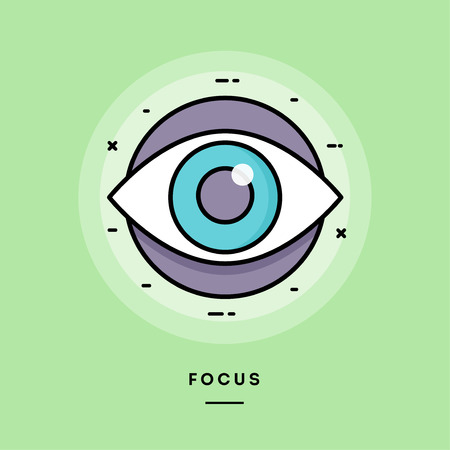 Focus, flat design thin line banner, usage for e-mail newsletters, web banners, headers, blog posts, print and more. Vector illustration. Ilustración de vector