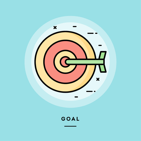 Goal, dart board, flat design thin line banner, usage for e-mail newsletters, web banners, headers, blog posts, print and more. Vector illustration. Stock Photo
