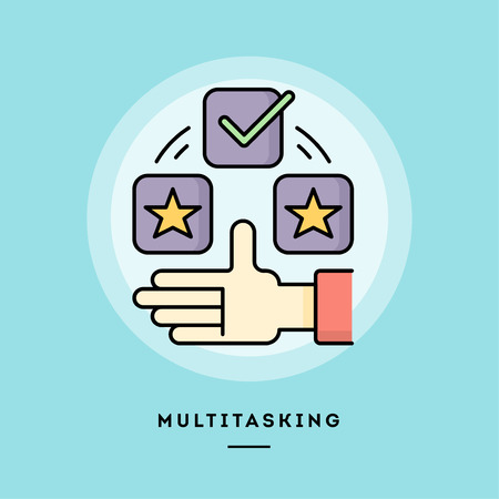 Multitasking, flat design thin line banner, usage for e-mail newsletters, web banners, headers, blog posts, print and more. Vector illustration. Illustration