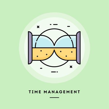 Gestión del tiempo, reloj de arena, banner de línea fina de diseño plano, uso para boletines de correo electrónico, banners web, encabezados, publicaciones de blogs, impresión y más. Ilustración vectorial.