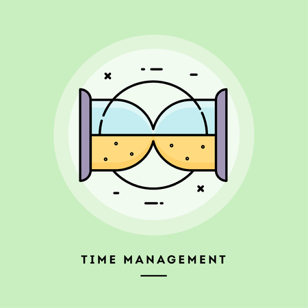 Time management, sand clock,flat design thin line banner, usage for e-mail newsletters, web banners, headers, blog posts, print and more. Vector illustration.  イラスト・ベクター素材