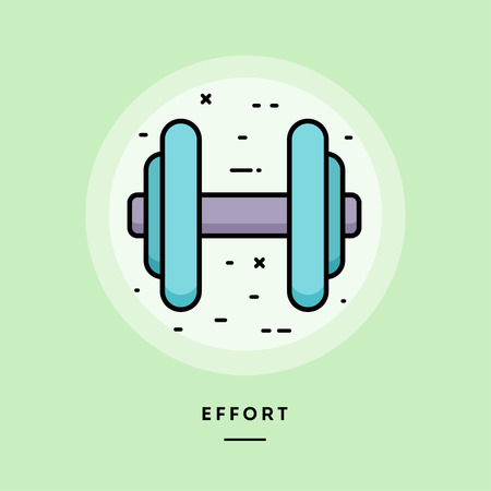 Effort, flat design thin line banner, usage for e-mail newsletters, web banners, headers, blog posts, print and more. Vector illustration.