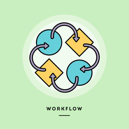 Workflow, flat design thin line banner, usage for e-mail newsletters, web banners, headers, blog posts, print and more. Vector illustration.