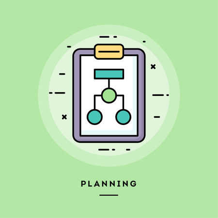 Planning, flat design thin line banner, usage for e-mail newsletters, web banners, headers, blog posts, print and more. Vector illustration.