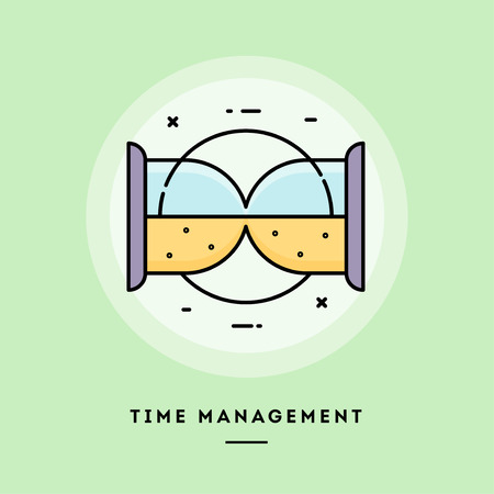 Time management, sand clock,flat design thin line banner, usage for e-mail newsletters, web banners, headers, blog posts, print and more. Vector illustration. Stock Photo