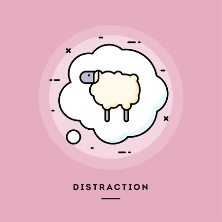 Distraction, flat design thin line banner, usage for e-mail newsletters, web banners, headers, blog posts, print and more. Vector illustration.