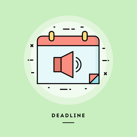 Deadline, flat design thin line banner, usage for e-mail newsletters, web banners, headers, blog posts, print and more. Vector illustration. Ilustrace