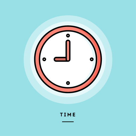 Time, flat design thin line banner, usage for e-mail newsletters, web banners, headers, blog posts, print and more. Vector illustration.