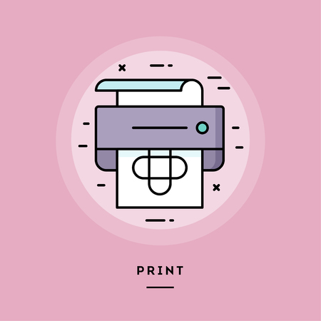 Print, flat design thin line banner, usage for e-mail newsletters, web banners, headers, blog posts, print and more. Vector illustration. Stock Illustration - 118084129