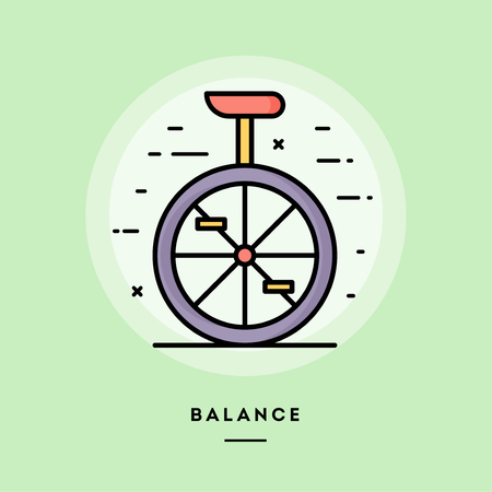 Balance, monocycle, flat design thin line banner, usage for e-mail newsletters, web banners, headers, blog posts, print and more. Vector illustration.