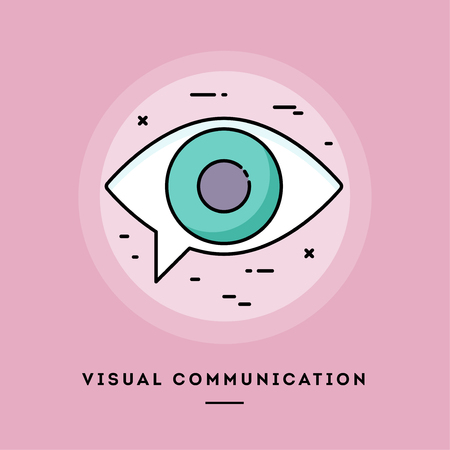 Visual communication, flat design thin line banner, usage for e-mail newsletters, web banners, headers, blog posts, print and more. Vector illustration. 写真素材
