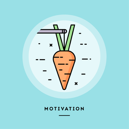 Motivation, carrot on a stick, flat design thin line banner, usage for e-mail newsletters, web banners, headers, blog posts, print and more. Vector illustration.