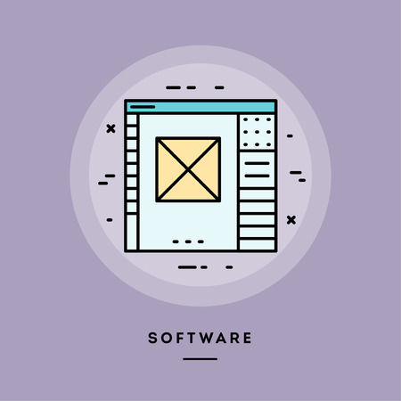 Software, flat design thin line banner, usage for e-mail newsletters, web banners, headers, blog posts, print and more. Vector illustration. Ilustrace