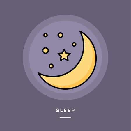 Sleep. Moon and stars, flat design thin line banner, usage for e-mail newsletters, web banners, headers, blog posts, print and more. Vector illustration.