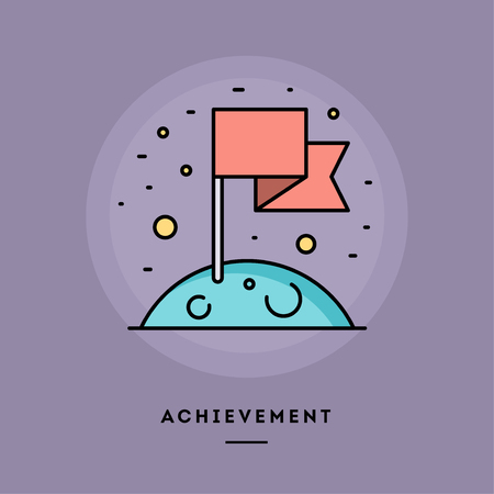 Achievement, flag on the Moon, flat design thin line banner, usage for e-mail newsletters, web banners, headers, blog posts, print and more. Vector illustration. Stock Illustration - 118084190