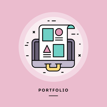 Portfolio, flat design thin line banner, usage for e-mail newsletters, web banners, headers, blog posts, print and more. Vector illustration. Reklamní fotografie