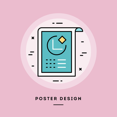 Poster, flat design thin line banner, usage for e-mail newsletters, web banners, headers, blog posts, print and more. Vector illustration.