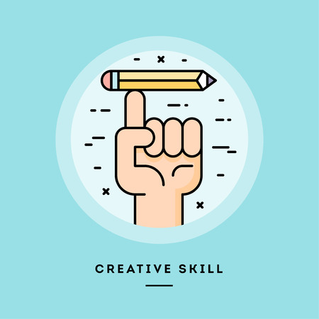 Creative skill, flat design thin line banner, usage for e-mail newsletters, web banners, headers, blog posts, print and more. Vector illustration. Reklamní fotografie