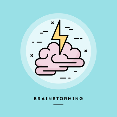 Brainstorming, flat design thin line banner, usage for e-mail newsletters, web banners, headers, blog posts, print and more. Vector illustration.