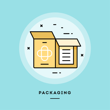 Packaging, flat design thin line banner, usage for e-mail newsletters, web banners, headers, blog posts, print and more. Vector illustration.