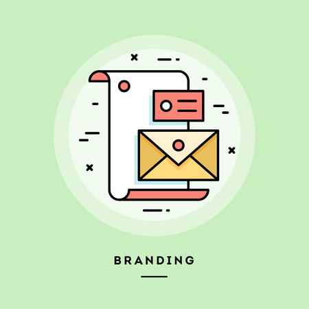 Branding, flat design thin line banner, usage for e-mail newsletters, web banners, headers, blog posts, print and more. Vector illustration.