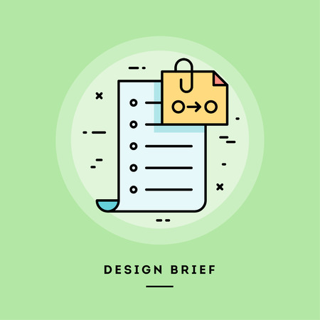 Client brief, flat design thin line banner, usage for e-mail newsletters, web banners, headers, blog posts, print and more. Vector illustration. Ilustrace
