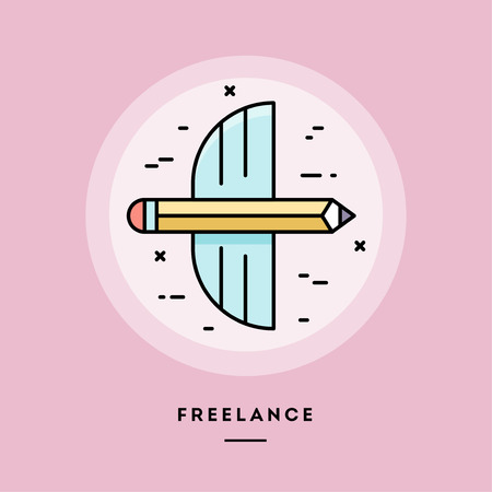 Freelance, flat design thin line banner, usage for e-mail newsletters, web banners, headers, blog posts, print and more. Vector illustration. Reklamní fotografie