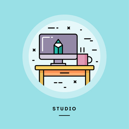 Studio, flat design thin line banner, usage for e-mail newsletters, web banners, headers, blog posts, print and more. Vector illustration. Reklamní fotografie