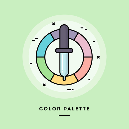 Color palette, flat design thin line banner, usage for e-mail newsletters, web banners, headers, blog posts, print and more. Vector illustration.